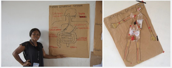 Mrs. Tetteh with a drawing of internal organs she created, and a model the teachers created as a group