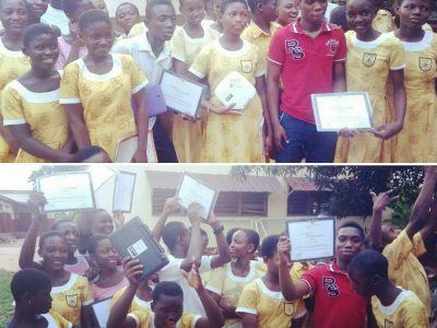 Junior High graduating students- solemn then happy