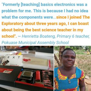 Ghanaian teacher sitting outside. Electronics set